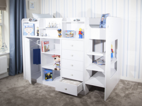 Flair Wizard High Sleeper Storage Station in Solid White
