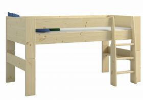 Steens For Kids Midsleeper + 3 Drawer Chest + Pull out Desk in Natural Lacquer