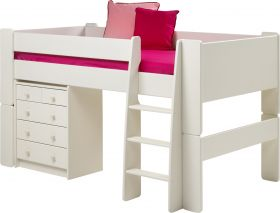 Steens For Kids Midsleeper with 3+2 Chest in Solid Plain White