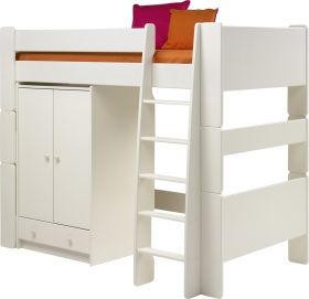 Steens For Kids High Sleeper and Low Wardrobe in Solid Plain White