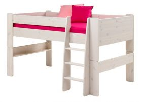 Steens For Kids Midsleeper + 3 Drawer Chest + Pull out Desk in Whitewash