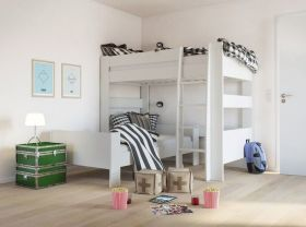Steens Memphis UK High Sleeper and Single Bed in Solid Plain White