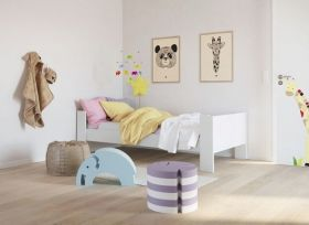Steens Memphis UK Single Bed in Solid Plain White