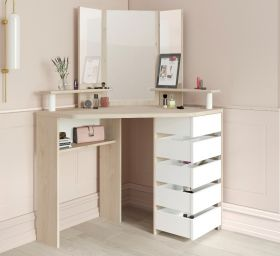 Parisot Corner Beauty Bar - Oak & White