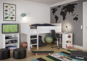 Steens Alba Midsleeper Bed with Pull-out Desk in Surf White
