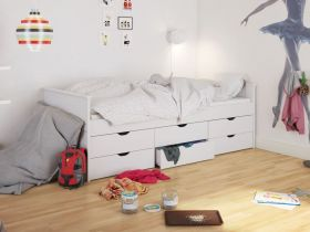 Steens Alba Single Bed in Surf White with 6 Drawers