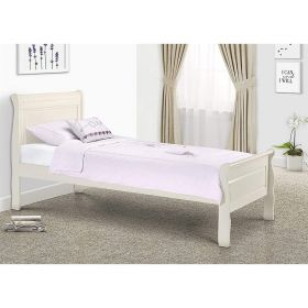 Julian Bowen Amelia Sleigh Bed in Stone White with Underbed Drawer