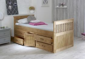 Amani UK Captains Storage Bed in Waxed Pine