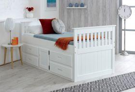 Amani UK Captains Storage Bed in White