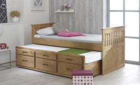 Amani UK Captains Bed with Underbed in Waxed Pine