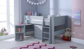 Steens For Kids Midsleeper in Cool Grey with 3+2 Chest & Pull-Out Desk