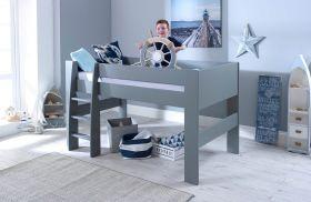 Steens Memphis UK Midsleeper Bed in Cool Grey + Mattress