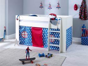 Steens Memphis UK Midsleeper Bed in Surf White + Mattress + Tent