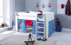 Steens Memphis UK Midsleeper Bed in Surf White + Blue Star Tent