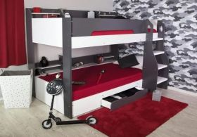 Flair Flick Bunk Bed in Grey & White