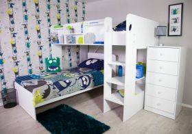 Flair Wizard 'L' Shaped Bunk Bed in Solid White