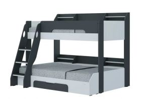 Flair Flick Triple Bunk Bed in Grey & White