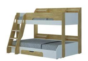 Flair Flick Triple Bunk Bed in Oak & White