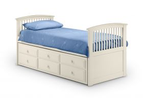 Julian Bowen Hornblower Captains Bed in Stone White with Trundle & Storage Drawers