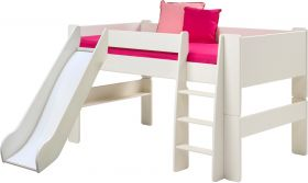 Steens for Kids Midsleeper Bed with Slide in Solid Plain White