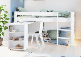 Steens Galaxy Midsleeper Bed in Surf White with Pull Out Desk