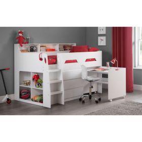 Julian Bowen Jupiter Midsleeper Cabin Bed in White + Mattress Bundle