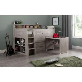 Julian Bowen Jupiter Midsleeper Cabin Bed in Grey Oak + Mattress Bundle