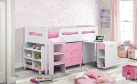Julian Bowen Kimbo Pink Midsleeper Cabin Bed + Mattress and Chair