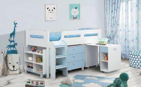 Julian Bowen Kimbo Blue Midsleeper Cabin Bed + Mattress and Chair