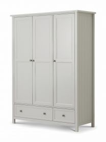 Julian Bowen Maine 3 Door Combination Wardrobe - Dove Grey