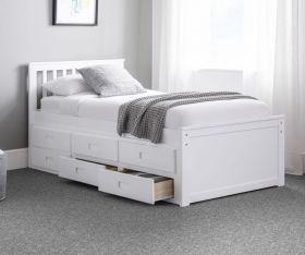 Julian Bowen Maisie White Captains Storage Bed with Underbed and Drawers