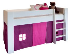 Steens Memphis UK Midsleeper Bed in Surf White + Pink Tent