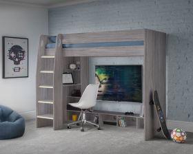 Julian Bowen Nebula Gaming Highsleeper Bed in Grey Oak
