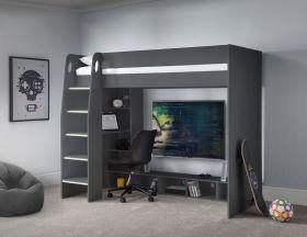Julian Bowen Nebula Gaming Highsleeper Bed in Anthracite