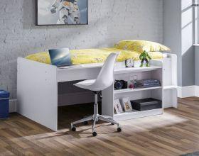 Julian Bowen Neptune Midsleeper Bed in White with Desk & Storage
