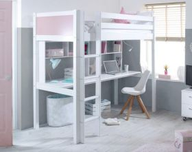 Thuka Nordic Highsleeper Bed 2 in White with Desk and Shelving