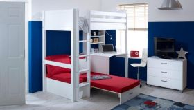 Thuka Nordic Highsleeper Bed 3 in White with Desk and Futon