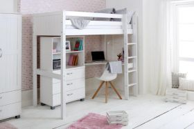 Thuka Nordic Highsleeper Bed 4 in White with Desk, Chest & Bookcase