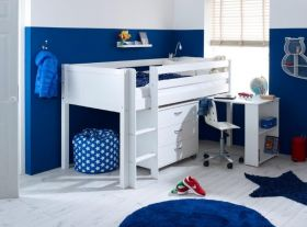 Thuka Nordic Midsleeper Cabin Bed 2 in White with Chest & Desk