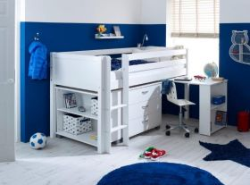 Thuka Nordic Midsleeper Cabin Bed 3 in White with Bookcase, Chest & Desk