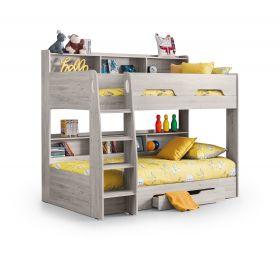 Julian Bowen Orion Bunk Bed in Grey Oak with Storage Drawer & Shelves