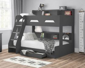 Julian Bowen Orion Triple Bunk Bed in Anthracite with Shelves & Storage Drawers