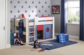 Julian Bowen Pluto Midsleeper Bed in Stone White with Blue Star Tent