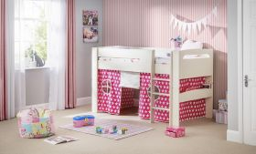 Julian Bowen Pluto Midsleeper Bed in Stone White with Pink Star Tent