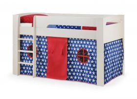 Julian Bowen Pluto Midsleeper Bed in Stone White + Blue Tent + Mattress