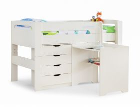 Julian Bowen Pluto Midsleeper Bed, Chest and Desk in Stone White