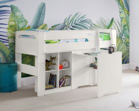 Julian Bowen Pluto Midsleeper Bed, Bookcase and Desk in Surf White