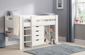 Julian Bowen Pluto Midsleeper Bed, Bookcase and Chest in Surf White