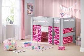Julian Bowen Pluto Midsleeper Bed in Dove Grey + Pink Tent + Mattress