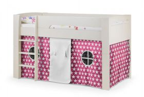 Julian Bowen Pluto Midsleeper Bed in Stone White + Pink Tent + Mattress